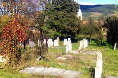Tombs in Jibert, village near Rupea(Reps), Brasov County.s. Old tombs in the old cemetery, in Jibert, village near Rupea(Reps), Brasov County royalty free stock image