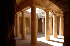 Tombs of the kings. Colonnaded courtyard of one of the tombs royalty free stock images