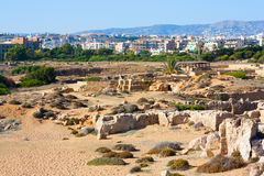 Tombs of the Kings, Cyprus. Town buildings view, Paphos and ancient Tombs of the Kings stock images