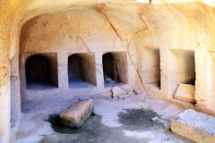 Tombs of the Kings, Paphos, Cyprus. Are a 4th century BC necropolis, of burial chambers of the Roman Hellenic period carved from sandstone, only high ranking Royalty Free Stock Photo