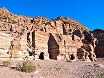 Tombs in Petra, Jordan. Petra panoramic view - Nabataeans capital city (Al Khazneh) , Jordan. Made by digging a holes in the rocks. Roman Empire period. Tombs Stock Image