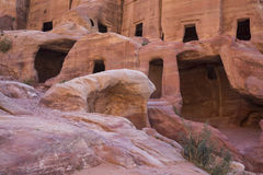 Tombs in Petra. Rock hewn tombs in ancient Petra royalty free stock photo