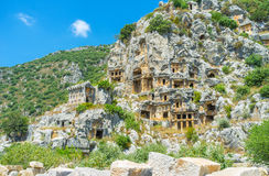 The tombs in the rock. The ancient town Myra boasts scenic cemetery - tombs in the rock, Turkey Stock Photography