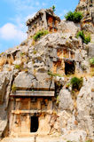 Tombs in the rock high  the mountains. Royalty Free Stock Photography
