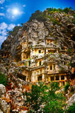 Tombs in the rock high  mountains . Royalty Free Stock Photos