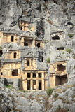Tombs in Rock at Myra Stock Photos
