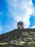 Tombs of sillustani near titicaca lake in peru royalty free stock photography