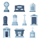 Tombs stone grave vector construction set. Vector tombs icons isolated on white background. Tombs stone grave for dead people. Traditional tombs stone graves Royalty Free Stock Images