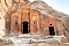Tombs in Wadi al-Farasa valley, Petra Stock Photo