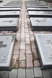 Tombs of war. Tombs of the war, detail from a graveyard, marble graves of war heroes, drama and sadness Stock Image