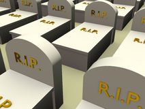 Tombs2. Several Tombs with the word rip in gold. Rest in Peace Stock Photos