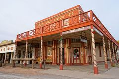 """Tombstone, Arizona, USA cowboy town. December 9, 2015 Tombstone, Arizona, USA: the corner where the Crystal Palace Saloon stands, is referred at as """"one of the Stock Photography"""