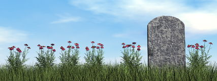 Tombstone and beautiful flowers - 3D render Royalty Free Stock Photos