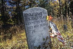 Tombstone of Benjamin Clary at the Moravian Grist Mill, New Jersey Stock Photography