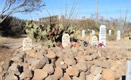 Tombstone, Arizona: Old West/Boot Hill Graveyard - Graves of the O.K. Corral Cowboys Stock Photography