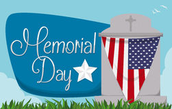 Tombstone with Bunting and Greeting Sign for Memorial Day, Vector Illustration Royalty Free Stock Photography