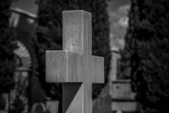 Tombstone, Cemetery, details of crosses and tombs with sculpture Stock Photo