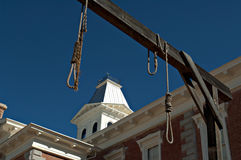 Tombstone county courthouse, Arizona. Looking through hanging noose at the county Courthouse, National historical landmark in Tombstone, America's gunfight Royalty Free Stock Photos