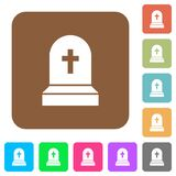 Tombstone with cross rounded square flat icons