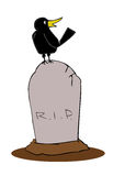 Tombstone with crow. Stock Image