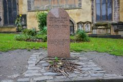 Tombstone of the dog Greyfriars Bobby in Edinburgh. The tombstone of the dog Greyfriars Bobby in Edinburgh royalty free stock images