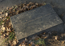 Tombstone for four unknow German soldiers in Langemark. Stock Image