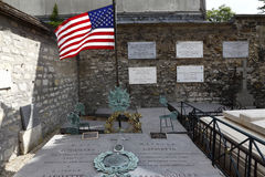 Tombstone of General Marquis Lafayette and his wife, Picpus Historical Cemetery, Paris, France shows American Flag re: Revolutiona Royalty Free Stock Images