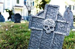 Tombstone Halloween Yard Decoration. Tombstone Halloween decoration outside in a yard Stock Photos