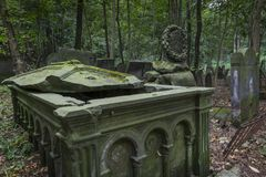 Tombstone on historic Jewish cemetery in Warsaw Stock Photos