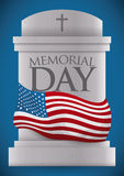 Tombstone Homage for Memorial Day, Vector Illustration Royalty Free Stock Image