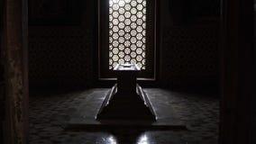 Tombstone inside the tomb. Tomb room inside indian monument Little Taj