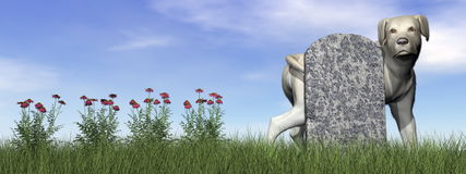 Tombstone with labrador dog - 3D render Stock Image