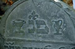 Tombstone of a levite. Gravestone with the symbols pot and bowl of a levite Stock Photo