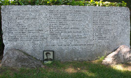 The tombstone with a list of soldiers killed during the liberation of Belgrade from the Germans, Serbia. The tombstone with the list of Russian soldiers of the stock photo