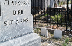 Tombstone. Marks a 19th century grave Stock Photography