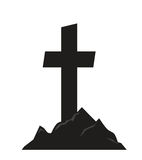 Tombstone and mountains. Tombstone with mountain silhouette as a decoration Royalty Free Stock Images