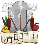 Tombstone with Offerings Ready to Perform Ritual during Qingming Festival, Vector Illustration. Tombstone decorated with a ribbon around it and offerings stock illustration