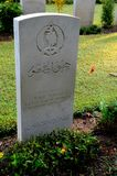 Tombstone of Pakistani soldier from Baloch Regiment in British Indian Army at Kranji Cemetery Singapore Stock Photo