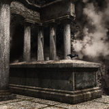 Tombstone with a raven and ivy Stock Images