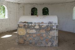The tombstone in the reconstructed tomb Rabbi Nakhman Katufa near the kibbutz Baram in Western Galilee in Israel. Bar`am, Israel, June 09, 2018 : The tombstone Stock Photography