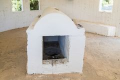 The tombstone in the reconstructed tomb Rabbi Nakhman Katufa near the kibbutz Baram in Western Galilee in Israel. Bar`am, Israel, June 09, 2018 : The tombstone Royalty Free Stock Image