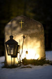 Tombstone reflecting evening light Royalty Free Stock Photography