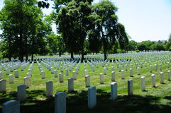Tombstone rows at Arlington National Cemetery. View of tombstone rows at Arlington National Cemetery Royalty Free Stock Photography