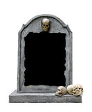 Tombstone with skull isolated on white background. Tombstone with skull isolated on white background, copy space and clipping path stock photos