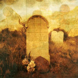 Tombstone and Souls. Old western tombstone with textures and rising souls. Photo based illustration Stock Image