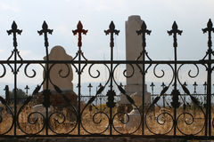 Tombstones And Fence In Old Cemetery Royalty Free Stock Photography
