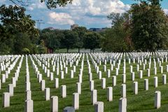 Tombstones in Arlington National Cemetery. Thoudsands of tombstones at Arlington National Cemetery, in Washington DC Royalty Free Stock Image