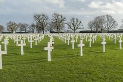Free Tombstones At Netherlands American Cemetery And Memorial Margraten Stock Photo - 107909880