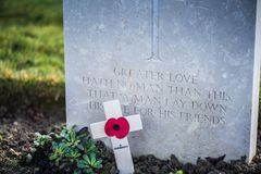 Tombstones in British War Cemetery in Normandy,France royalty free stock photography