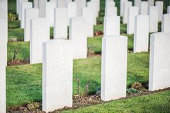 Tombstones in British War Cemetery in Normandy,France royalty free stock photos